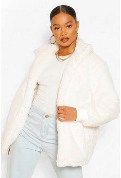 Cream white Faux Fur Puffer Jacket