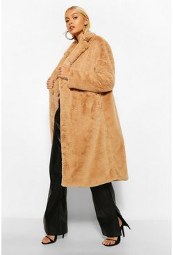 Camel beige Faux Faur Single Breasted Longline Coat
