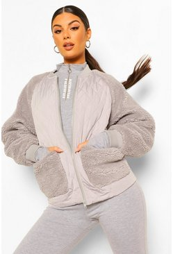 Grey Quilted And Teddy Mix Jacket