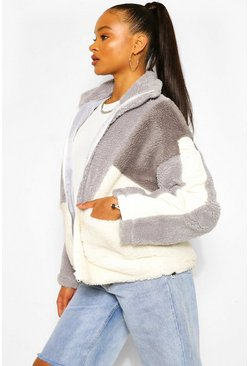 Grey Teddy Colour Block Jacket