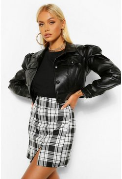 Black Puff Sleeve Faux Leather Button Through Jacket