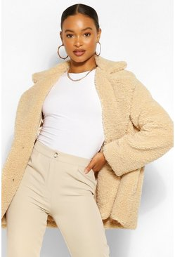 Stone beige Teddy Faux Fur Coat