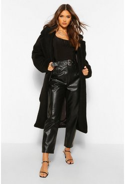 Black Faux Teddy Fur Belted Coat