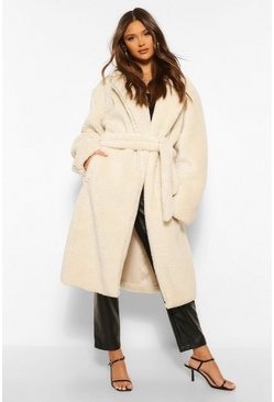 Cream white Faux Teddy Fur Belted Coat
