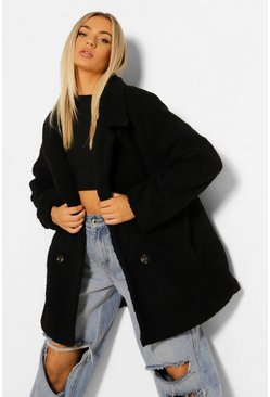 Black Double Breasted Faux Teddy Fur Coat