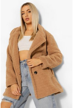 Camel beige Double Breasted Faux Teddy Fur Coat