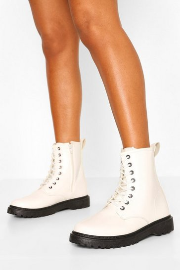 White Wide Fit Lace Up Chunky Hiker Boots
