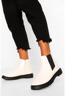 Chunky Chelsea Boots, White blanc
