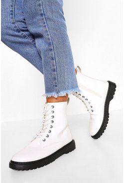 White Lace Up Chunky Hiker Boots