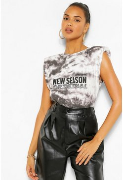 Black The Tie Dye Shoulder Pad Slogan Top