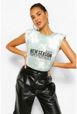 The Tie Dye Shoulder Pad Slogan Top, Sage