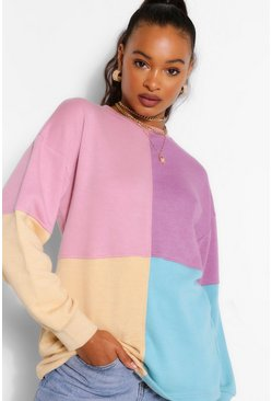 Multi Colour Block Oversized Sweater