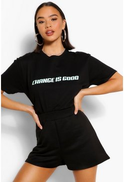 Black CHANGE IS GOOD SLOGAN T-SHIRT