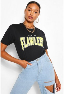 Black FLAWLESS SLOGAN T-SHIRT