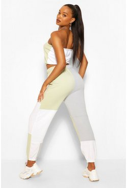 Grijs grey Colour Block Bandeau En Joggingbroek Set