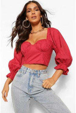 Red Woven puff sleeve cup detail top