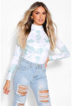 Sage green TIE DYE HIGH NECK LONG SLEEVE TOP