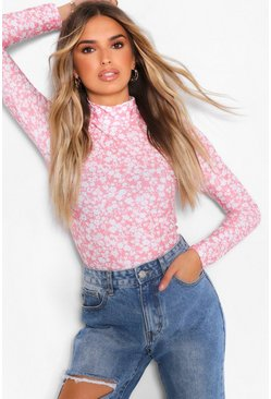 Rose FLORAL HIGH NECK LONG SLEEVE TOP