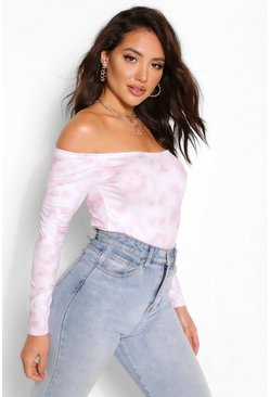 Plum TIE DYE OFF THE SHOULDER BODYSUIT