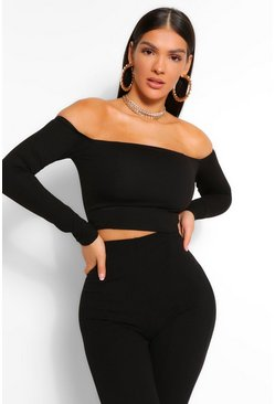 Black BARDOT LONG SLEEVE CORSET TOP