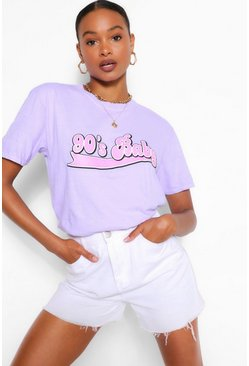 Lilac 90'S BABY BUBBLE SLOGAN WASHED T-SHIRT