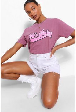 Raspberry 90'S BABY BUBBLE SLOGAN WASHED T-SHIRT