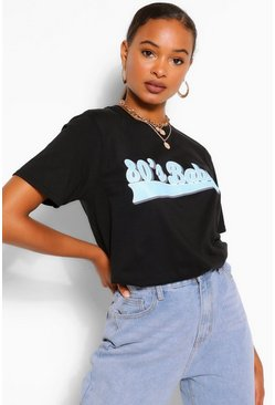 Black 80's BABY SLOGAN T-SHIRT