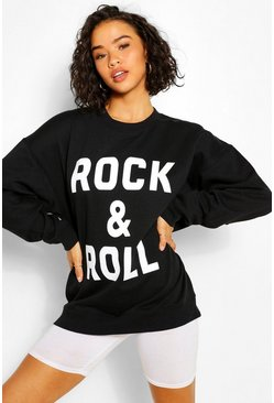 Black ROCK & ROLL SLOGAN SWEAT