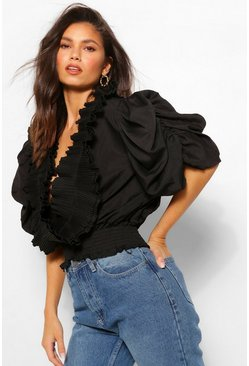 Black PUFF SLEEVE EXTREME RUFFLE FRONT BLOUSE