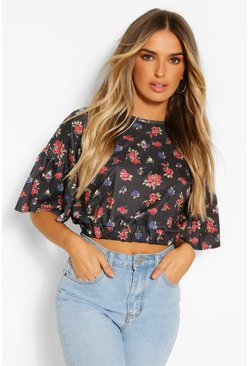 Black Ditsy Floral Ruffle Sleeve Tie Neck Top