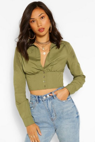 Khaki Corset Detail Fitted Woven Shirt