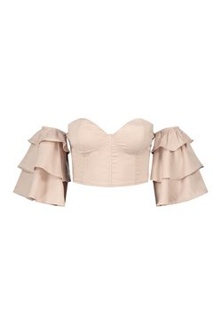 Champagne RUFFLE OFF THE SHOULDER CORSET TOP