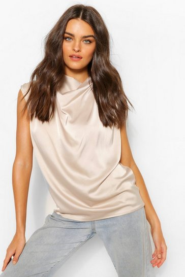 Champagne beige Beige Satin Pleat Cowl Neck Blouse