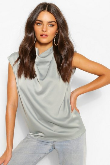 Khaki Satin Pleat Cowl Neck Blouse