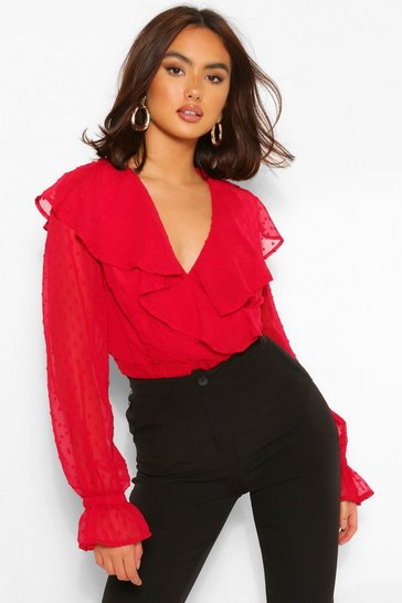 Red Dobby Woven Ruffle Wrap Blouse