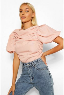 Blush Woven ruched puff sleeve crop top