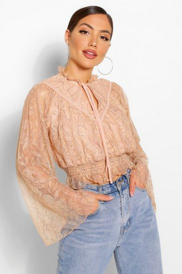 Nude Lace High Neck Blouse