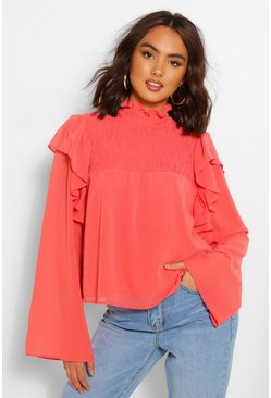 Woven shirred ruffle high neck blouse, Orange