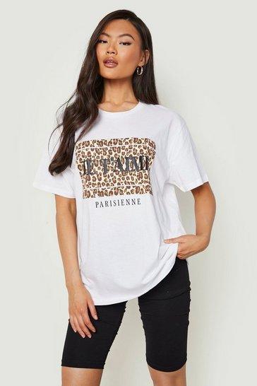 White J'Adore Paris Leopard T - Shirt