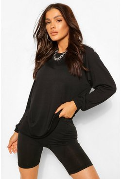 Black Raglan Sleeve Tunic Sweat