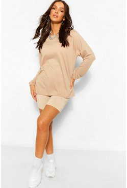 Stone beige Raglan Sleeve Tunic Sweat