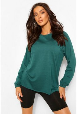 Teal green Raglan Sleeve Tunic Sweat