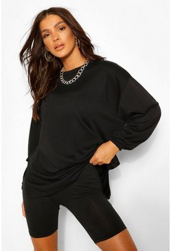 Black Side Split Oversized Sweat