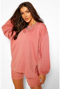 Blush pink Side Split Oversized Sweat