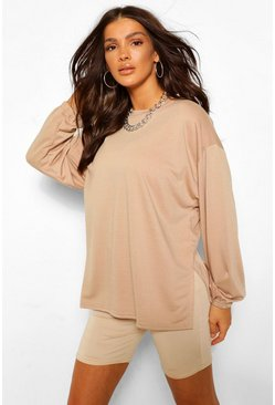 Stone beige Side Split Oversized Sweat