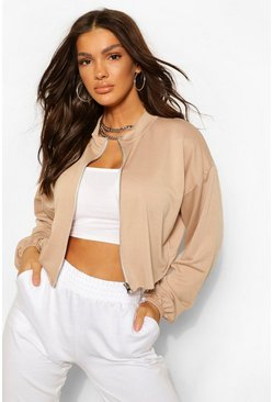 Stone beige Boxy Zip front High Neck Sweat