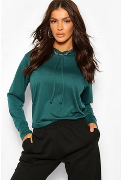 Teal green Boxy DrawstrIng Hoody