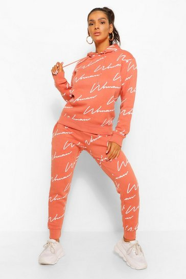 Terracotta orange Woman All Over Print Tracksuit