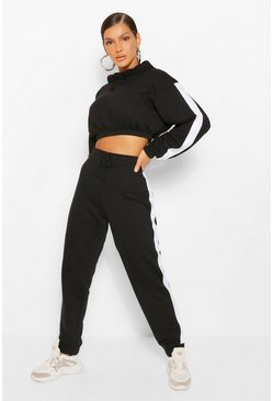 Black Contrast Panelled Crop Hooded Tracksuit