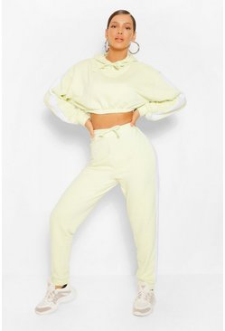 Washed lime yellow Contrast Panelled Crop Hooded Tracksuit